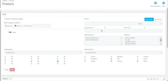 Скрин модуля Фильтр и поиск на вкладке товаров в админ панели
