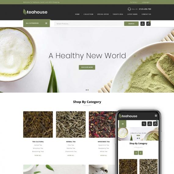 PrestaShop шаблон Teahouse - многоцелевой интернет-магазин
