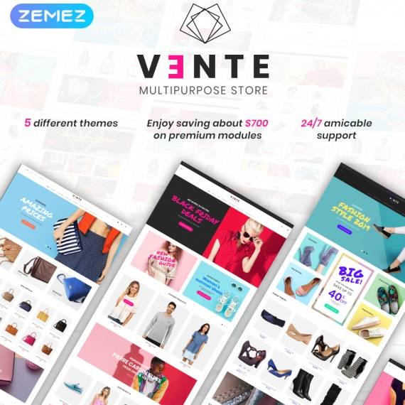 PrestaShop шаблон Vente - интернет-магазин одежды