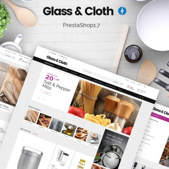 PrestaShop шаблон Glass and Cloth - Dishes Store
