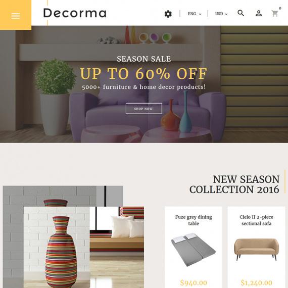Decorma - адаптивный PrestaShop 1.7 шаблон магазина мебели