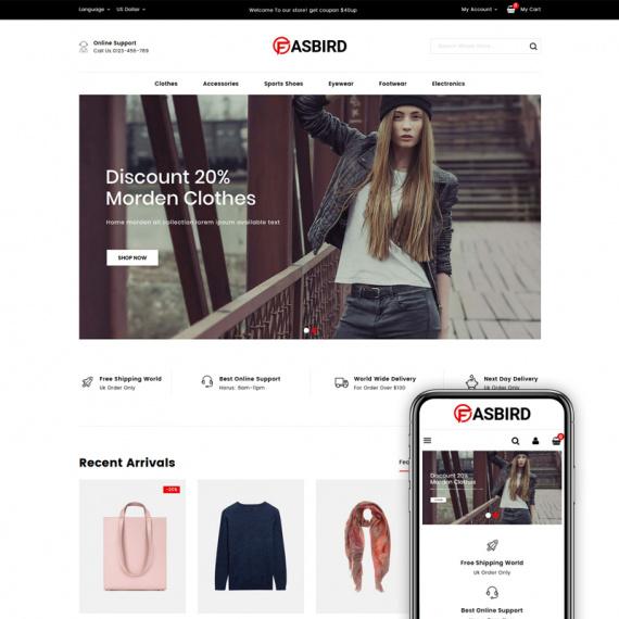 PrestaShop шаблон Fasbird - Fashion Designer Store